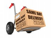 Same Day Delivery - Cardboard Box on Hand Truck.