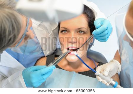 Healthy teeth woman patient at dentist office dental caries prevention