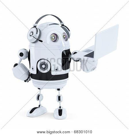 Android Robot With Headphones And Laptop. Isolated. Contains Clipping Path
