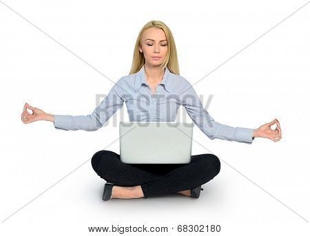 Isolated woman yoga and laptop