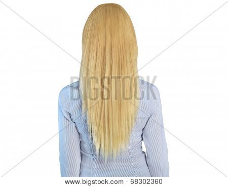 Isolated blonde woman backview closeup