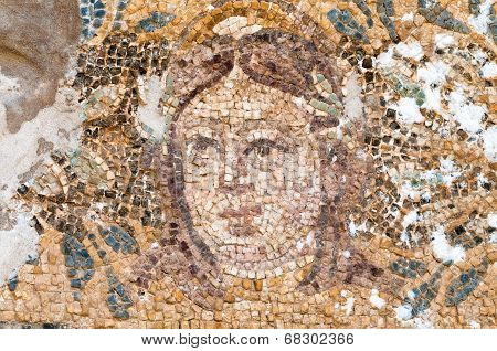 Mosaic Of Hades At The Roman Baths In Salamis, Cyprus