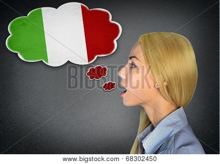 Woman speaking italian in bubble