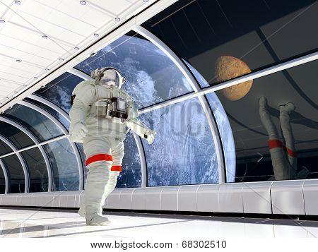 Astronaut walking on glass corridor.