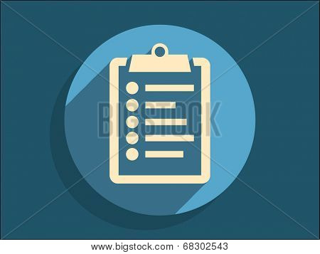 Flat long shadow icon of clipboard