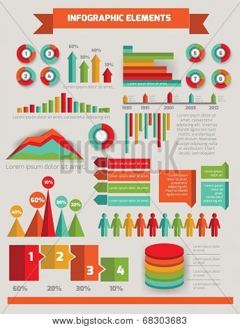 Big set of infographic elements lime green icon set vector EPS10