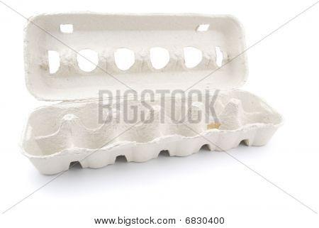 Empty 12 Eggs Box On White