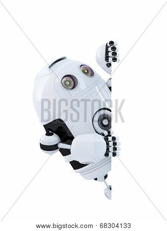 Robot Looking At Blank Banner. Isolated. Contains Clipping Path