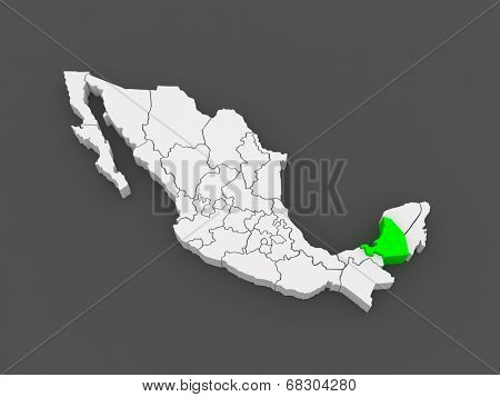 Map of Campeche. Mexico. 3d