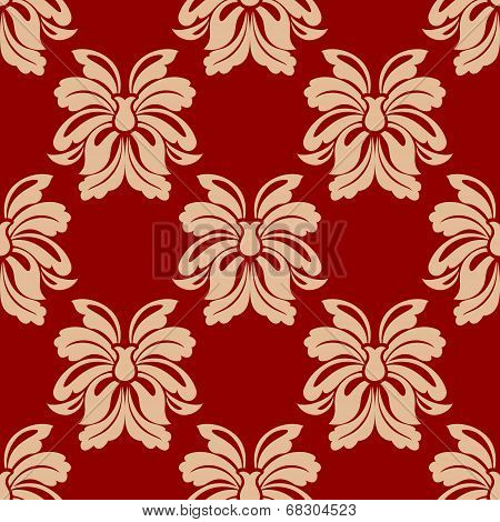 Dainty beige and maroon floral seamless pattern