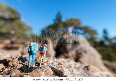 Miniature Tourists With Backpack