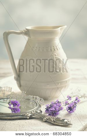 Antique silver mirror with lavender - vintage tone effect added