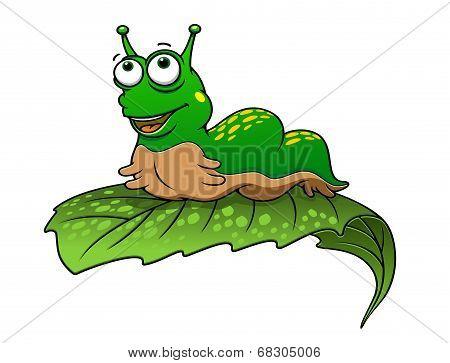Green cartoon caterpillar insect