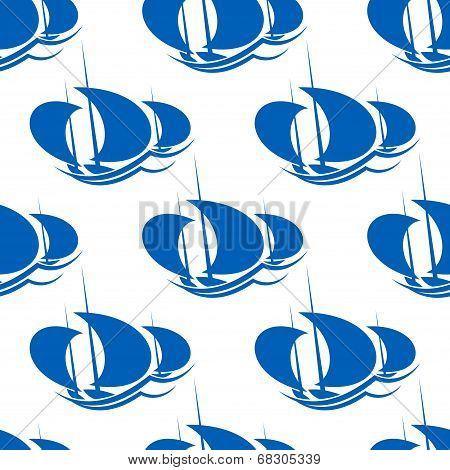 Yachts racing sport seamless pattern