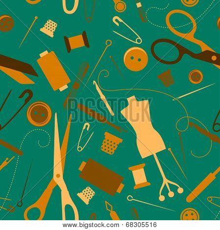 Sewing and needlework seamless pattern
