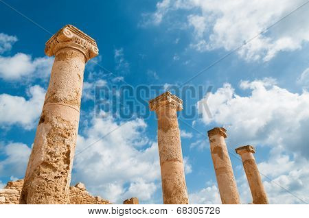 Ancient Columns At Archaeological Site At Kato Paphos. Paphos, Cyprus