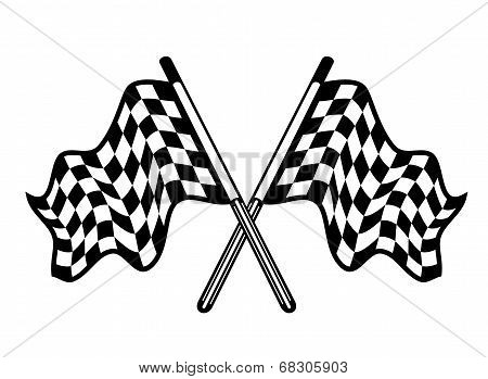 Crossed pair of waving checkered flags