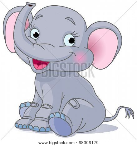 Illustration of very cute smiling baby elephant