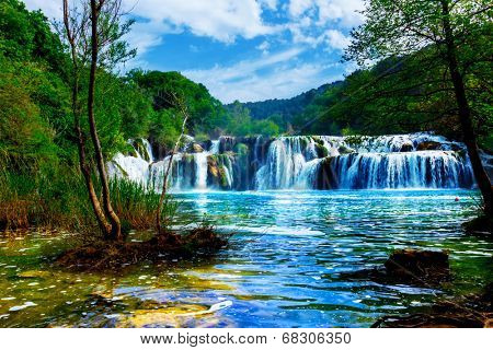 panorama  waterfalls of the Krka river in Krka national park in Croatia, Dalmatia, Europe