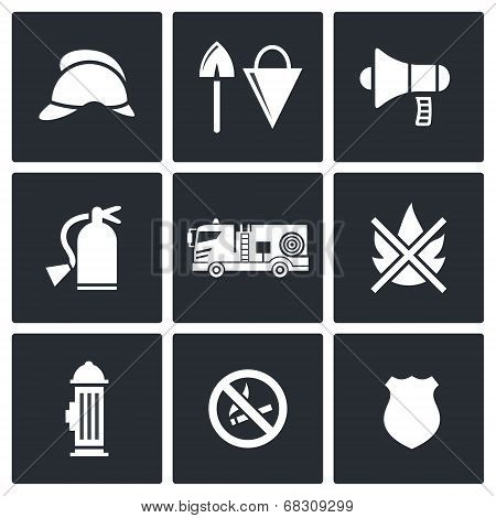 Fire Department Service Icons Set