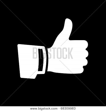 Vector White Thumb Up Icon