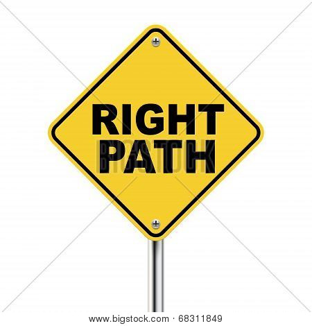 3D Illustration Of Yellow Roadsign Of Right Path