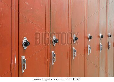 Red High School Lockers