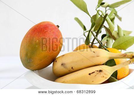 Bananas Mango And Fresh Oranges