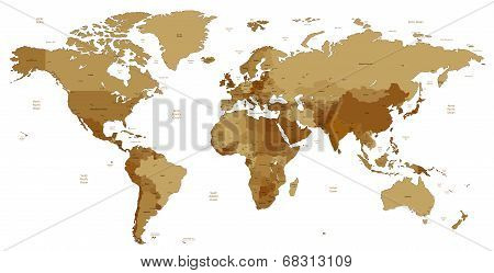 Brown Detailed World Map