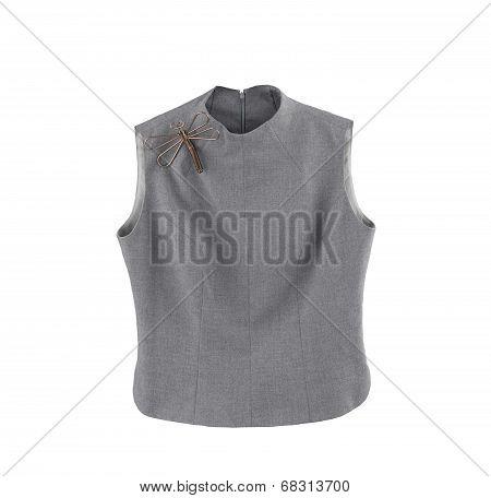 Luxury gray sleeveless blouse