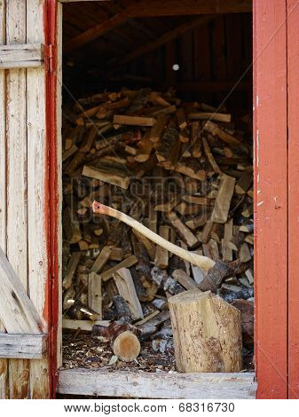 Axe And Woodpile