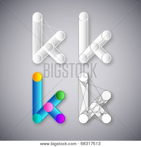 Abstract Vector Combination of Letter K
