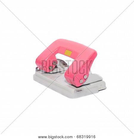 Old Office Paper Hole Puncher Isolated On White Background