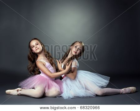 Studio shot of two graceful ballet dancers