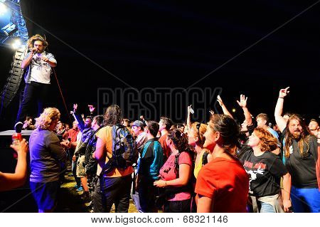 Singer On Stage With Crowd