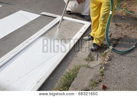 Roadworks, Street Lines Painting
