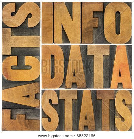 information, data, facts, stats word abstract - isolated text in vintage letterpress wood type printing blocks
