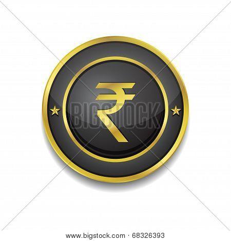 Rupee Currency Sign Circular Vector Golden Black Web Icon Button