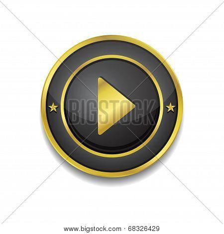 Play Circular Vector Golden Black Web Icon Button