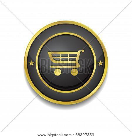 Shopping Circular Vector Golden Black Web Icon Button