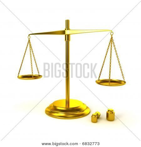 Pharmaceutical Gold Scale On White Background