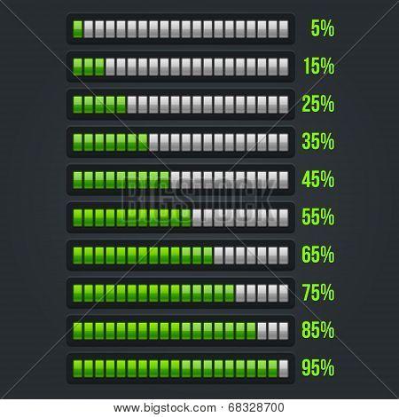 Green Progress Bar Set. 5-95%