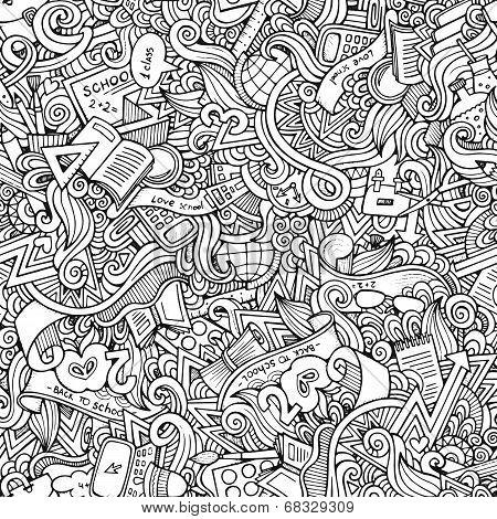 hand drawn school seamless pattern