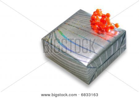 Fancy Box With Fruit Of The Viburnum On White Background