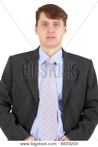 Portrait Of Businessman In Dark Jacket On White Background