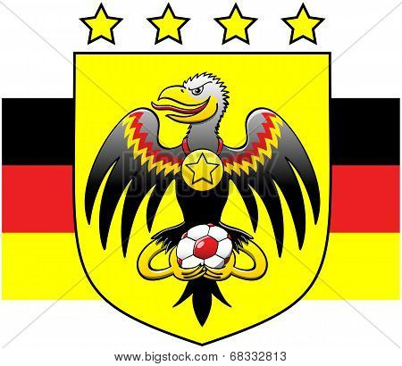 German coat of arms showing a black eagle while holding a soccer ball