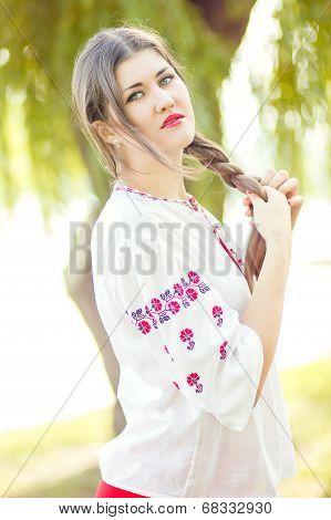 Outdoor fashion brown hair woman portrait