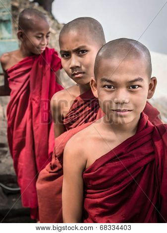 Novice Buddhist Monks In Bagan, Myanmar (burma)