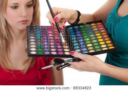 Make-up Girl Showing Range Of Collors