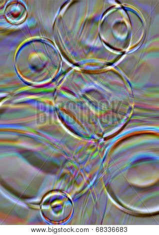 Iridescent circles on a gray background